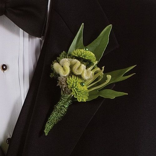 Fun Lime Green Boutonniere - with Celosia, Kermits with embelishments and Leafs at http://www.busseysflorist.com/wedding-flowers/
