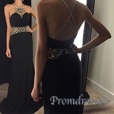 2016 elegant backless black chiffon prom dress with crystals, ball gown, prom dresses long #coniefox