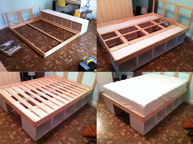 Keeping stuff under the bed totally makes sense, if you need to maximize storage in your bedroom. However beds with drawers under them can be expensive. Here's a DIY solution! Turn two sturdy bookshelves on their sides and use them as legs. Then build the bed frame on top of them.
