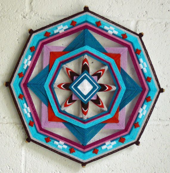 """Evening Star,"" a 12"", 8-sided Ojo de Dios mandala by Jay Mohler"