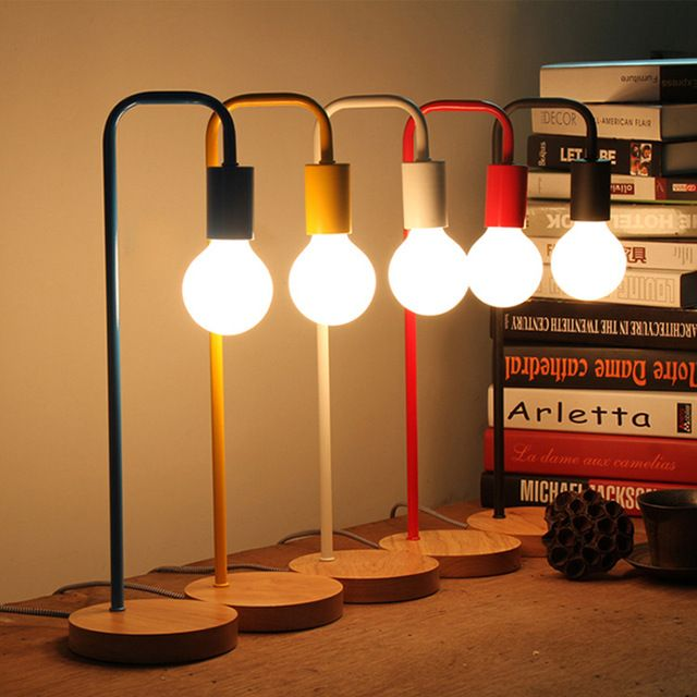 Современные Цвет Простой Nordic Настольная Лампа E27 Держатель Кабинет: Рабочий Стол Из светлого Дерева, Железа Спальня Одной Головы лампы для Чтения Работа Декор