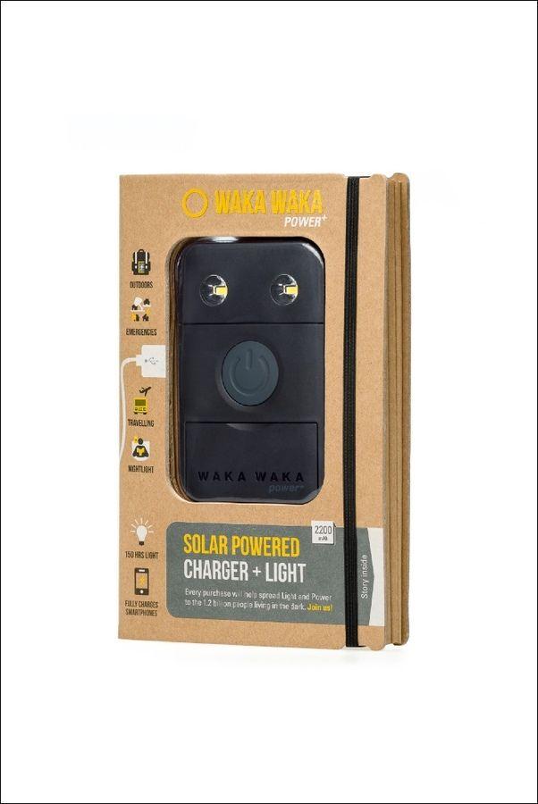 Charges iphones, Nokia, Blackberry, Samsung, Sony, HTC and most others. The Solar Light Company - WakaWaka Power Plus, £54.00 (http://www.thesolarlightcompany.co.uk/wakawaka-power-plus/)