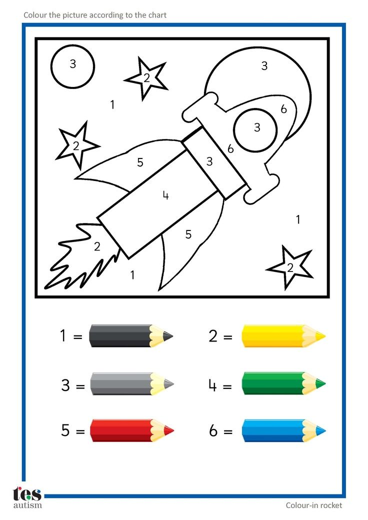 Simple colour by numbers pictures with clear visuals. Fish and Seahorse activities use four colours. Rocket and car activities use six colours.: