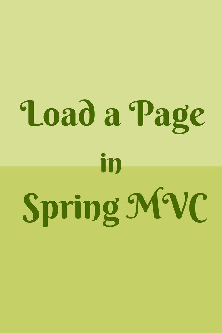 Load a page in Spring MVC