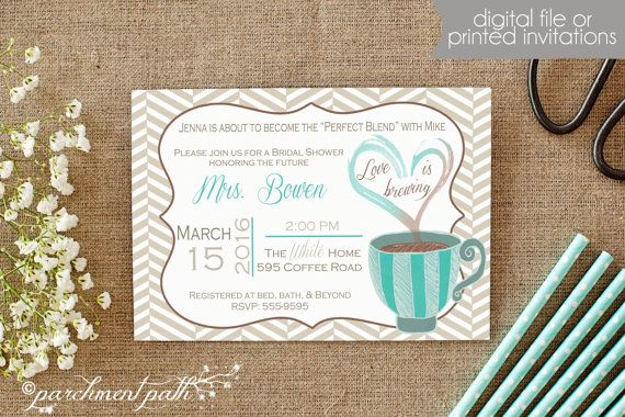 Love is Brewing Bridal Shower or Bachelorette Party Invitation - Printable - Wedding - Coffee Bridal Shower