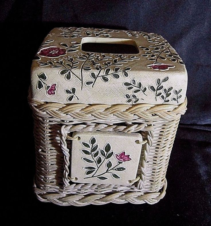 TISSUE BOX COVER- Resin Coated Woven Basket Base, Resin Top - Ivory w/Flowers #Unbranded $21.99