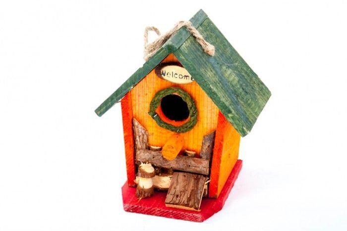 Vogel-Nisthöhle bunt aus Holz 16x14x18 cm Vogelhaus kaufen