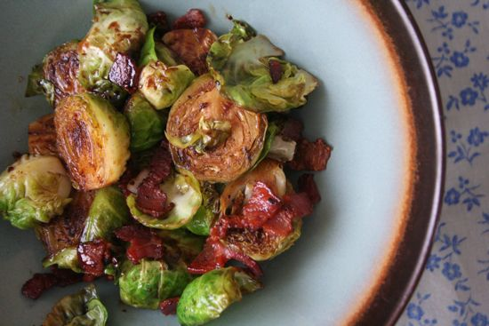 Caramelized Brussels Sprouts with Bacon, Balsamic & Brown Sugar