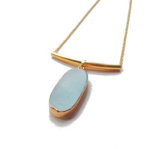 Modern Light Blue Oval Pendant Necklace, Limited Edition