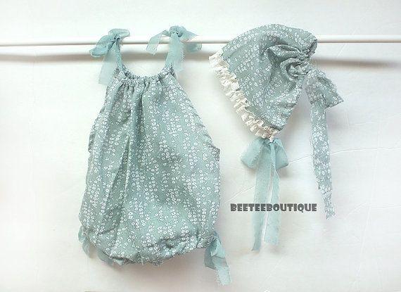 Snowy Mint Romper and Bonnet Set  Newborn by BeeTeeBoutique