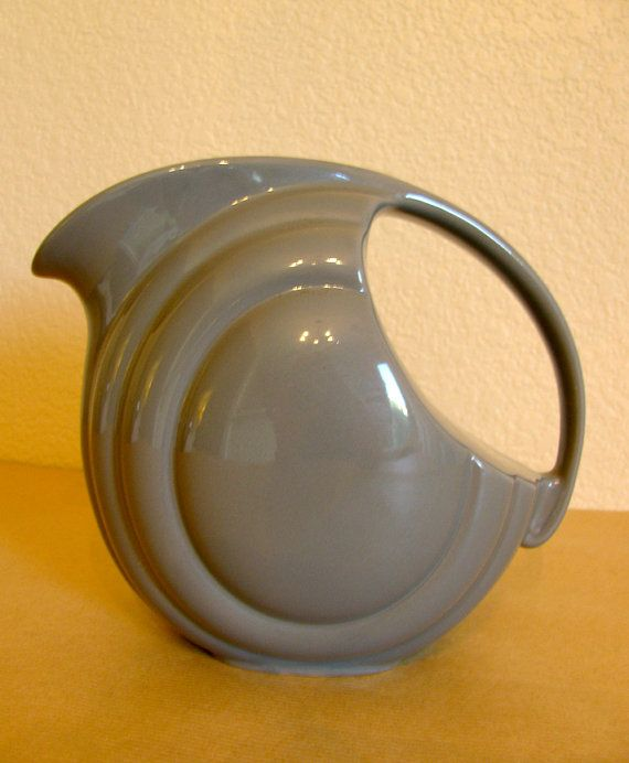 Art Deco Hall China Co Gray Ceramic Pitcher By