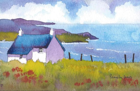 Original Watercolour...Clifftop Cottage by Pamelajonesartstudio