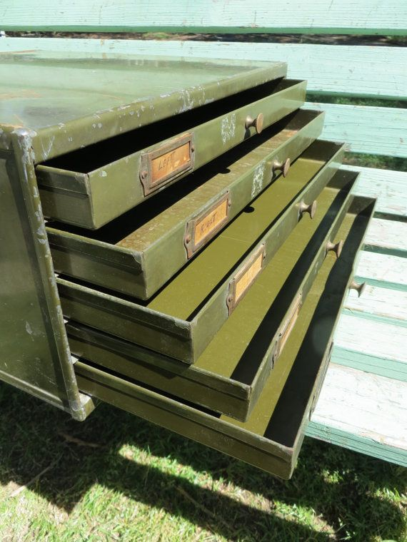 Steel Army Green 5 Drawer Flat File / Machinist Tool Chest: Midcentury Storage Cabinet for Prints, Artwork, Hardware, Supplies, Jewelry by Cabinet @Luvocracy |