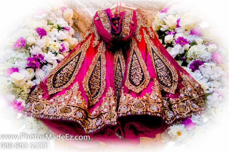 Bride's Dress, Shoes, accessories, ring, boquet, chura, clutch, necklace, jewellery jhumka, kalira, payel, bridal makeup, bridal wear earrings, garter, mangalsutra, pagri, groom's turban, groom's cufflink, groom's watch, tika, wedding jewellery ,bridal jewellery - Photo by PhotosMadeEz