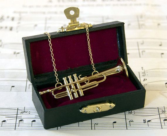 Miniature Trumpet Necklace in Case by twopennylane on Etsy