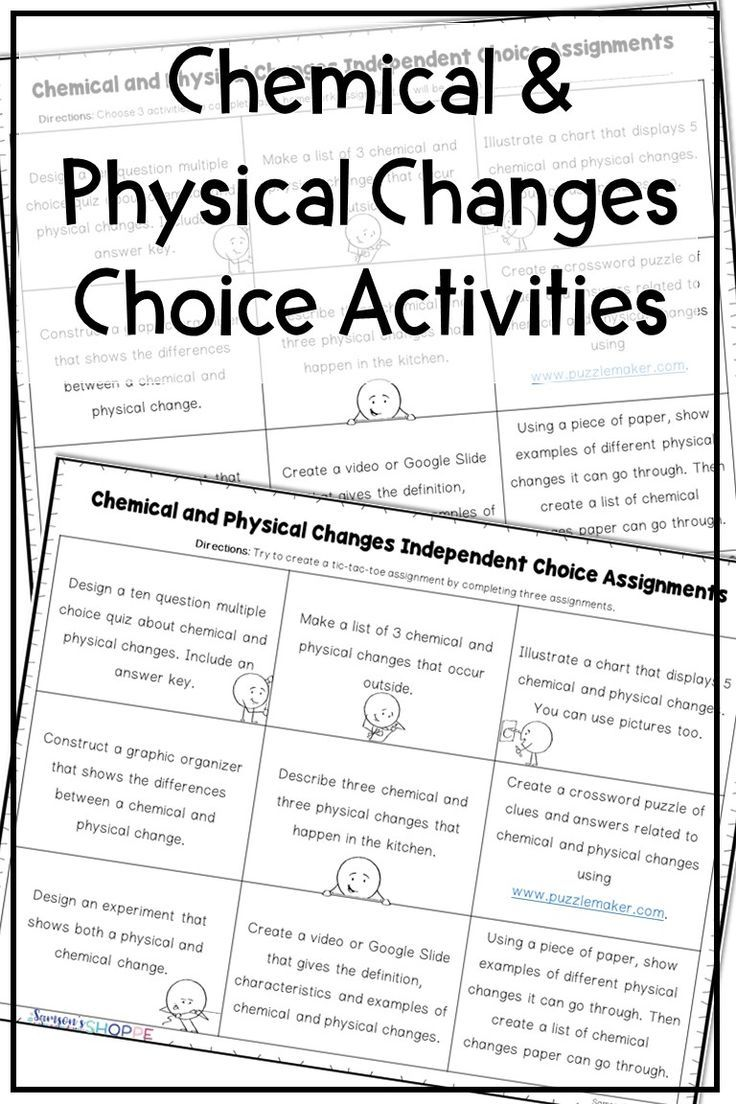 Chemical And Physical Changes Choice Activity Sheet Great For