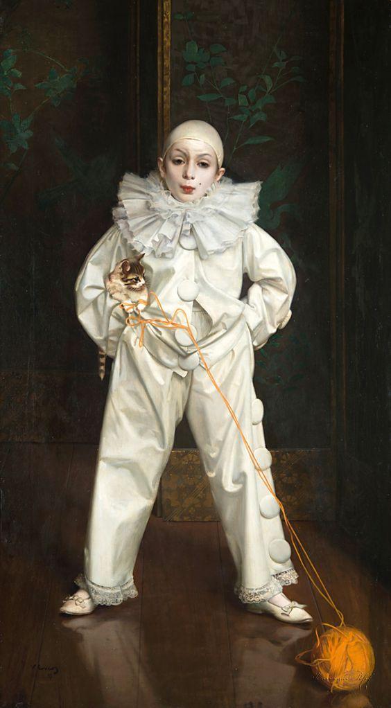 Vittorio Matteo Corcos - Ritratto di bambino nel costume di Pierrot 1897
