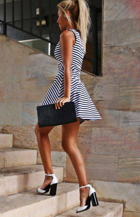 cute monochrome black and white striped dress