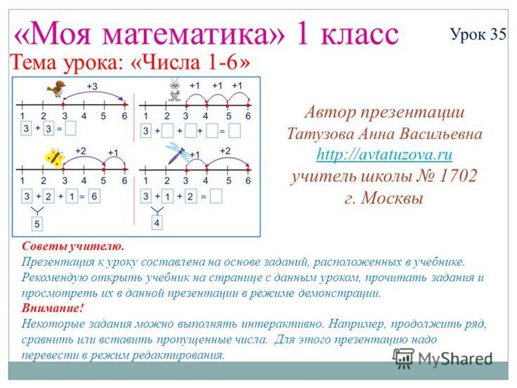 Математика 1 класс тема урока: