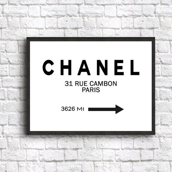 Chanel Poster Sign Chanel Decor Art Print sizes from by WallBuddy                                                                                                                                                                                 More