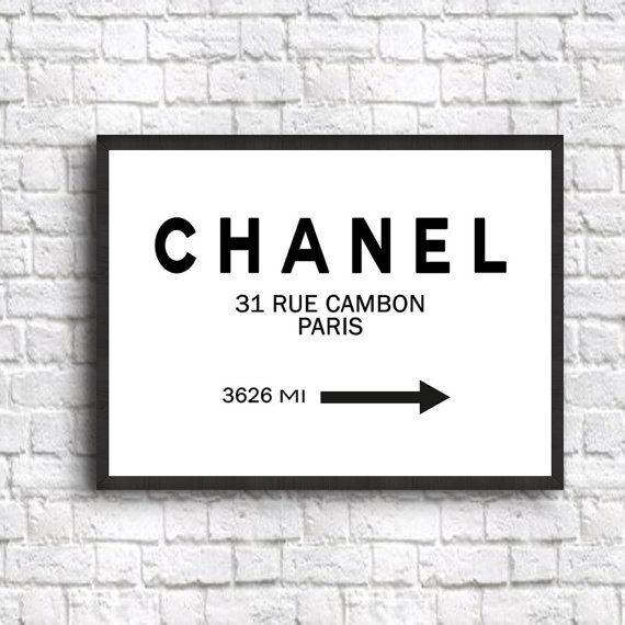 Chanel Poster Zeichen Chanel Decor Art Print Größe 5 von WallBuddy