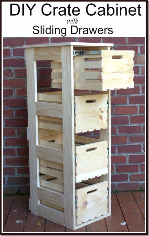 DIY Projects Your Garage Needs -DIY Crate Cabinet With Sliding Drawers - Do It Yourself Garage Makeover Ideas Include Storage, Organization, Shelves, and Project Plans for Cool New Garage Decor http://diyjoy.com/diy-projects-garage