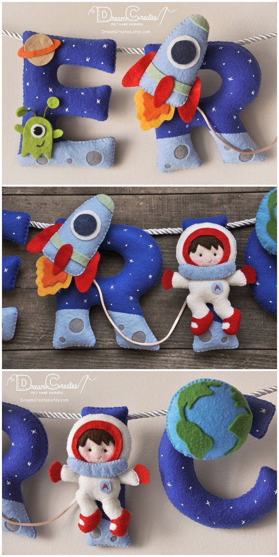 Outer Space themed felt name banner, personalized nursery decor, custom made letters, of different colored felt, with sweet astronaut, space shuttle and Earth. A lovely Space nursery decor for a new babys room and a perfect addition to your nursery. * * * * * * * * * * Height of the letters: ≈12 cm (4,8 inch). ONE LETTER PRICE IS $ 11.00. HOW TO ORDER If you want to buy this name banner, please select an option How many letters? below the title and $35+ price. For example, if your name is…