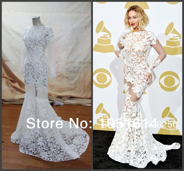 Custom Made Beyonce Bateau Lace Sexy Backless Byonce Prom Gowns Mermaid Evening Dress 56th GRAMMY Awards Celebrity Dresses