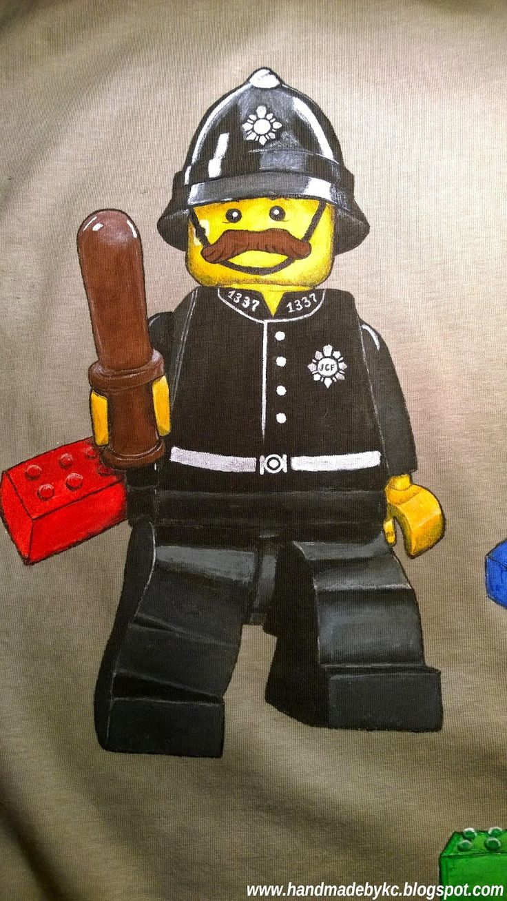 lego policeman hand painted t-shirt for child #handmade #lego #policeman