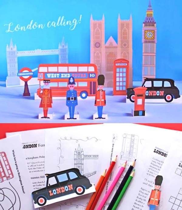 Printable London figures and landmark buildings. London worksheets and colour in sheets - printable educational pack for schools.