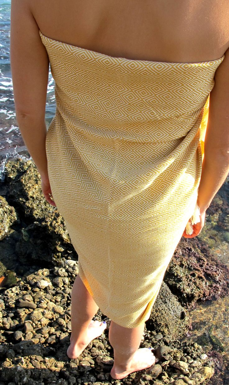 Mustard Diamond peshtemals as a beach wrap/sarong. Get it at http://casabellatextiles.com/index.php?route=product/product&path=60_66&product_id=61