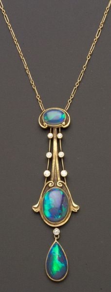 FINE JEWELRY - SALE 2370 - LOT 418 - ART NOUVEAU BLACK OPAL AND DIAMOND PENDANT, THE BRASSLER COMPANY, NEWARK, NEW JERSEY, SET WITH THREE OPAL CABOCHON... - Skinner Inc