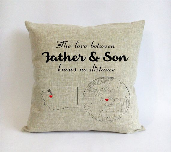 Long Distance Father Son Pillow Case Burlap Fathers Day Gift From Dad Daddy Gifts