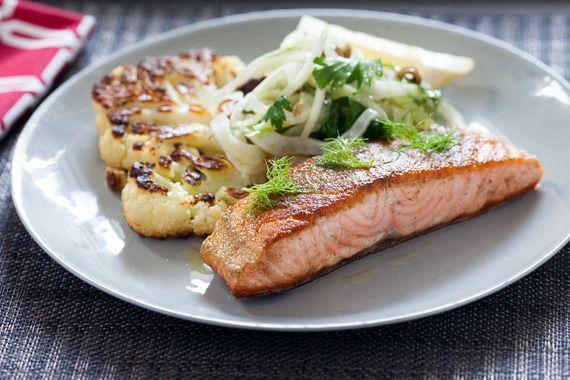 Salmon with Fennel Two Ways & Cauliflower Steak. Visit http://www.blueapron.com/ to receive the ingredients.