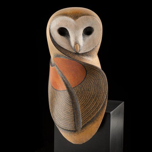 Barn Owl wood sculpture by Rex Homan