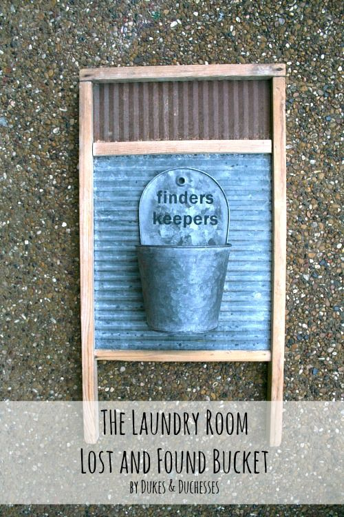 laundry room lost and found bucket