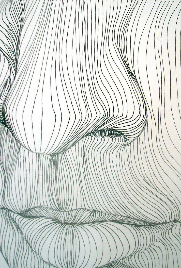 Contour lines, pen and ink close up facial feature art f542399791d1323d6f284f9b0a9d5b5f.jpg (736×1088)