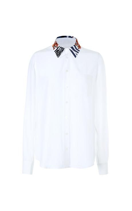 Brett Embroidered-Collar Silk Blouse by Equipment Now Available on Moda Operandi