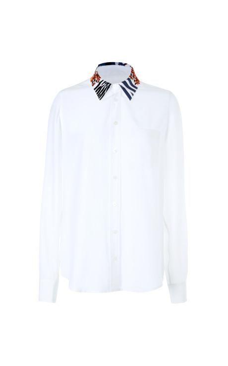 Brett Embroidered-Collar Silk Blouse by Equipment Now Available on Moda Operandi