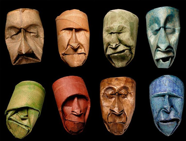 Playfully Expressive Masks Sculpted Out of Toilet Paper Rolls - My Modern Met