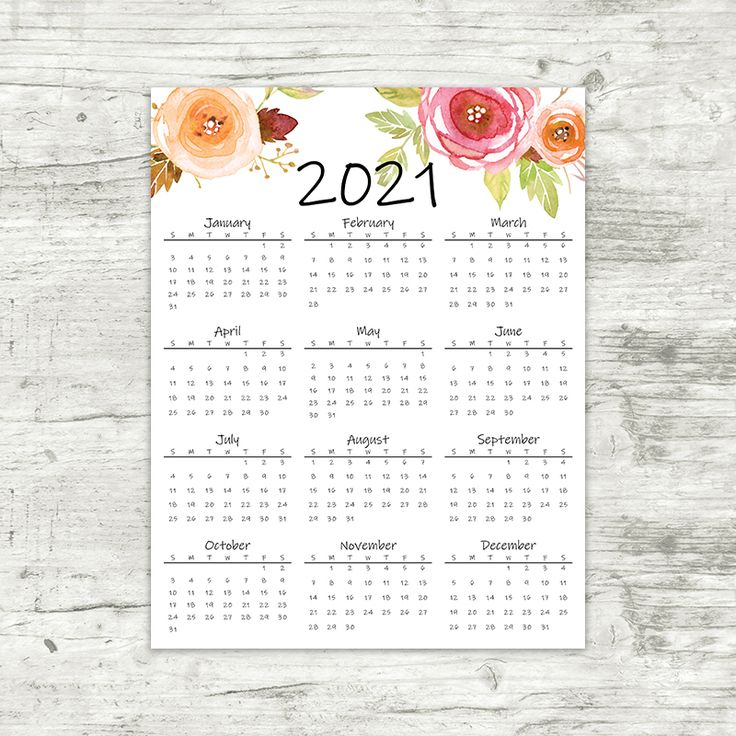 2021 Year At A Glance Calendar | Printable Calendar in ...