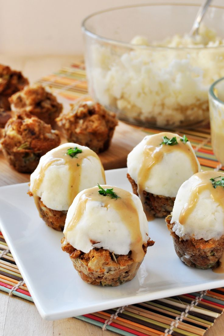 Vegan, Gluten-Free Thanksgiving Stuffing-Muffins with Mashed Potatoes and Gravy