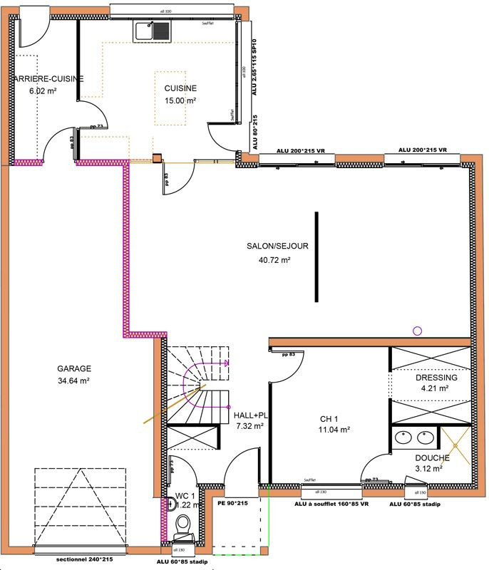 149 m 4 chambres 1 tage vue rdc pinterest - Plan Maison Etage 4 Chambres 1 Bureau