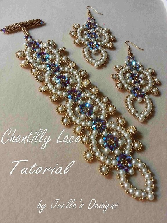Chantilly Lace Bracelet  Materials:  •for the bracelet - 70 - 4mm crystals  •130 - 4mm pearls  •sz 11 seed beads  •for the earrings - 52 - 4mm crystals  •90 - 4mm pearls  •sz 11 seadbeads  You Will Also Need:  •8 lb fireline  •size 12 beading needles  •beading mat  •beading light  •sissors