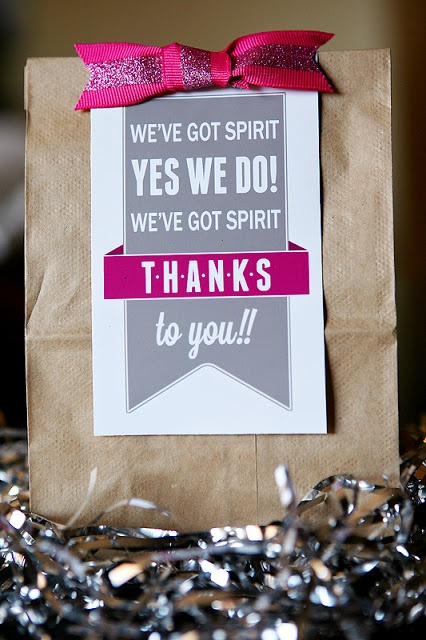 School spirit thank you bag.  To give to teachers that attend or to throw out to fans...