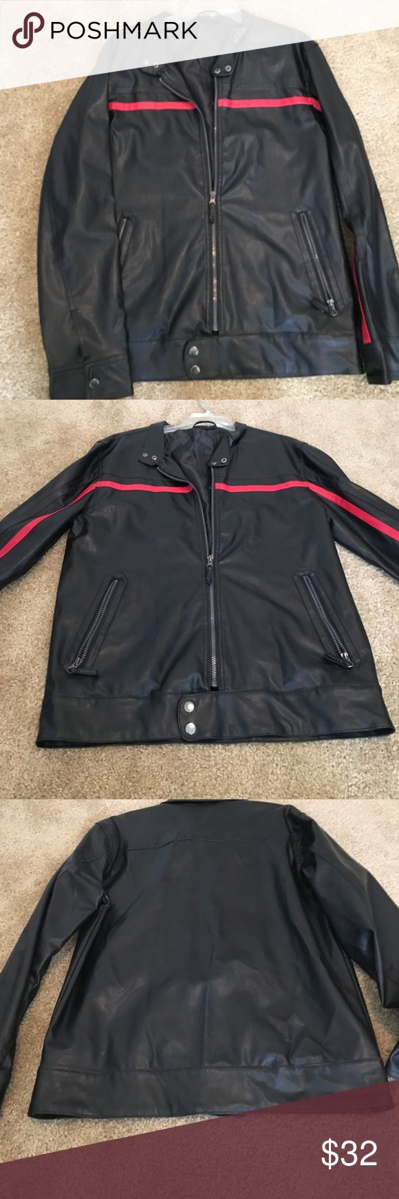 ✨Men's Faux Leather Jacket Awesome and great condition men's faux leather jacket with a red line detailing. Size medium. Jackets & Coats