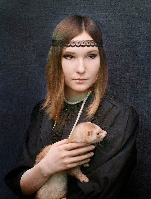 """""""Lady with an ermine"""" remake by Sarah Hertzman, after da Vinci"""