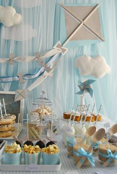Kite + Hot Air Balloon Baby Shower Birthday Party Theme Blue Kids Boy