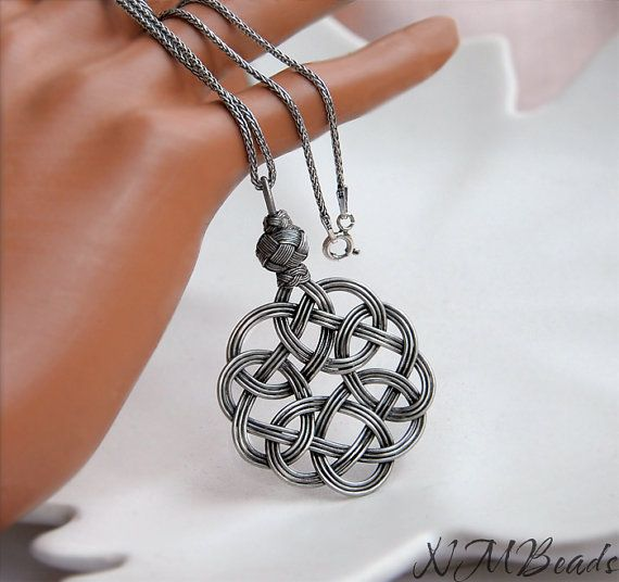 Fine Silver Celtic Knot Pendant With Sterling Silver Chain by NMBeadsJewelry
