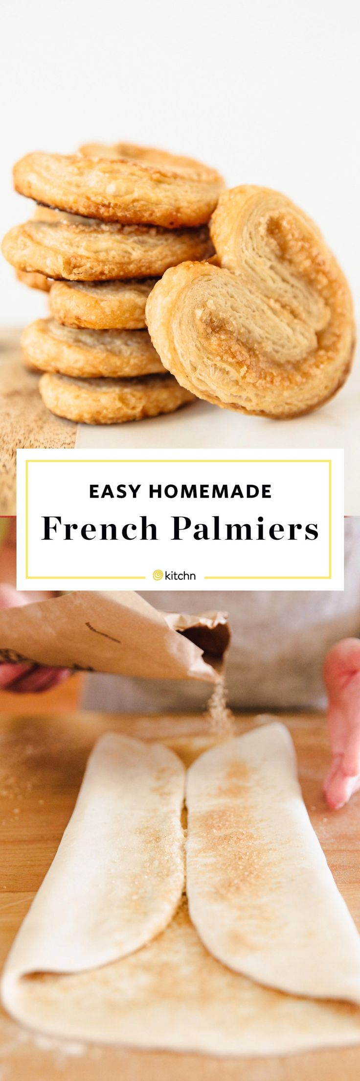 Homemade French Palmiers Recipe. This classic french pastry dessert is perfect if you're looking for ideas and recipes for easy holiday Christmas cookies, or even a simple Valentine's Day dessert! You only need puff pastry and sugar to make this simple treat. No one will know how simple it is!